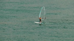 Portugal Madeira island windsurfer in the harbor of Funchal city Footage