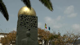 Portugal Madeira island memorial with golden sphere at Funchal promenade Footage