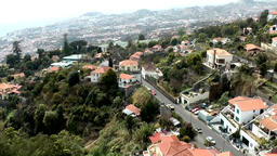 Portugal Madeira Madeiran hillside estates seen from cable railway to Monte Footage