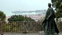 Portugal Madeira statue in Monte village looks downhill to the harbor Footage