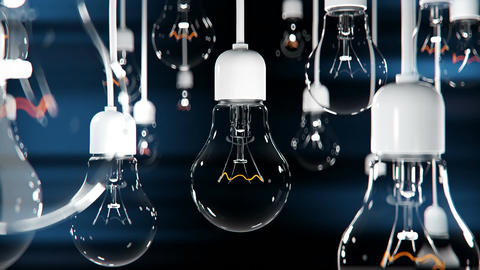 Idea concept with light bulbs on black background Animation