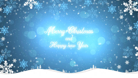 Merry Christmas and happy new year background blue Animation