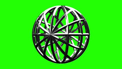 Silver Circle Abstract On Green Chroma Key Animation