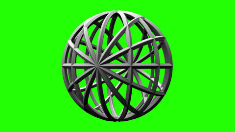 White Circle Abstract On Green Chroma Key Animation