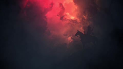 Japanese Samurai Warrior on a Horse in a Stormy Day Image