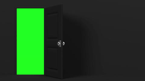 Black Door And Text Space With Green Chroma Key CG動画