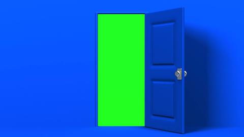 Blue Door And Green Chroma Key Animation