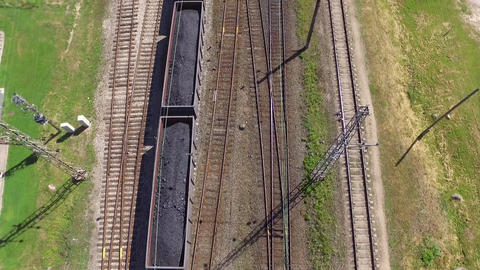 Aerial shot of a freight train Filmmaterial