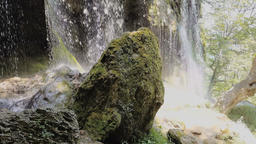 Hidden waterfall at Etropole Monastery, Bulgaria Filmmaterial
