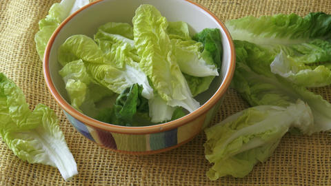 Fresh green lettuce in a salad bowl isolated on yellow background Footage