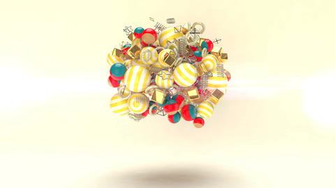 The chaotic movement of small colorful balls Animation