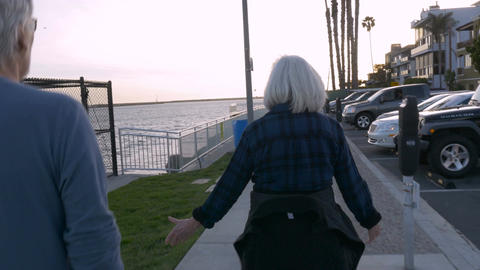 Two healthy baby boomers walking on beach path in urban setting. Active retired  Footage