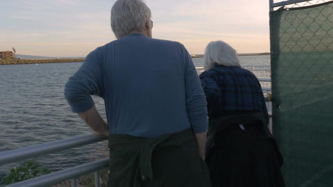 Attractive happy mature 60s couple looking at ocean and exploring. Retired man a Footage