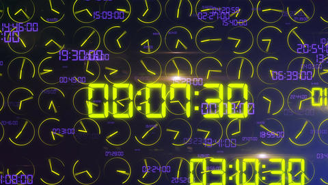 Decimal digits and clock arrows turning crazily Animation