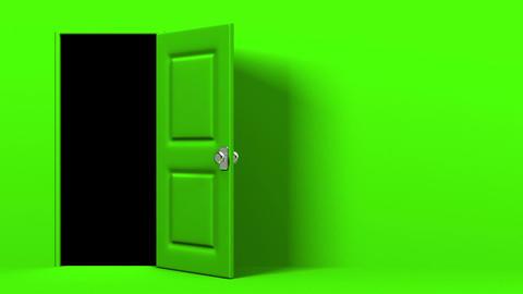Green Door With Text Space And Dark Room CG動画