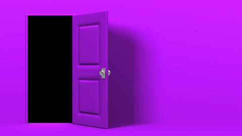 Purple Door With Text Space And Dark Room CG動画