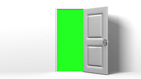 White Door And Green Chroma Key Animation