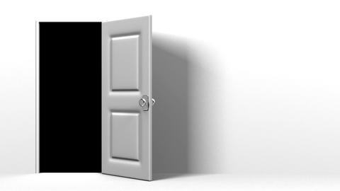 White Door With Text Space And Dark Room CG動画