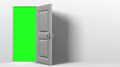 White Door With Text Space And Green Chroma Key CG動画