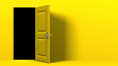 Yellow Door With Text Space And Dark Room CG動画