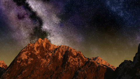 Time lapse of the sunrise from night sky with stars passing by behind mountain Animation