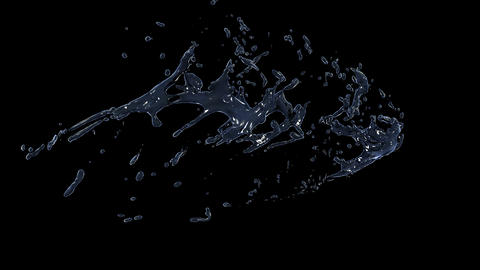 Water splash in Slow motion. Alpha channel mask included. 4K Animation