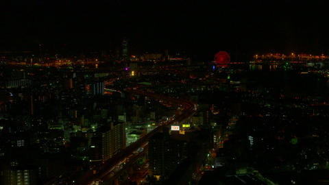 The night view of Osaka Footage
