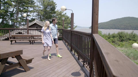 walking on the terrace Footage