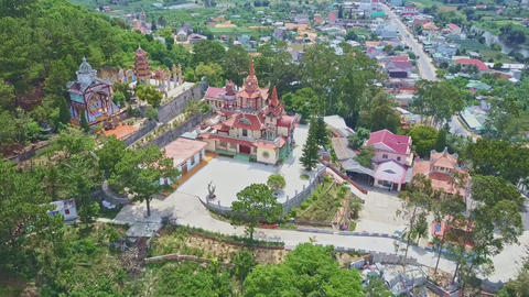 Panoramic View Buddhist Temple against Nature Landscape Footage