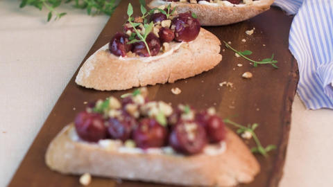 Toasts with goat cheese Footage