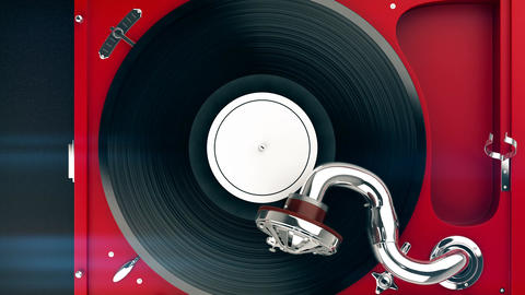 Top view of the vintage turntable and vinyl record Animation