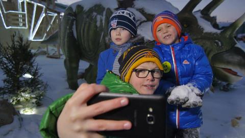 Happy Boys Make Selfie against Animal Sculpture in Park Footage