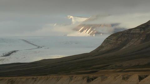 nordenskiold glacier in svalbard during midnight sun Footage