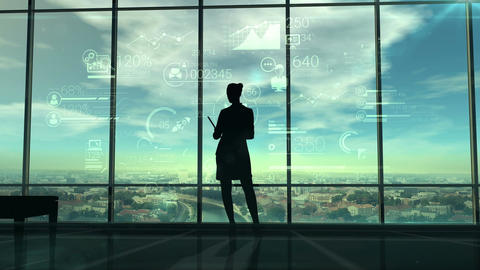 Silhouette of woman and corporate infographics Animation