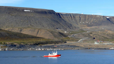 passing plataberget, a table mountain, during cruise through fjord near longyear Footage