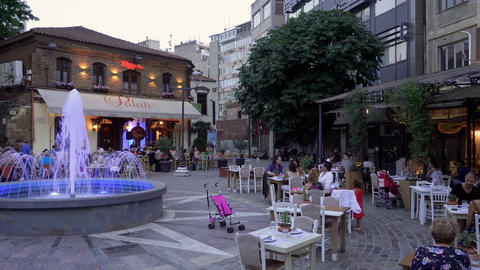 Crowd of Greeks and tourists at restaurants in Ladadika area with live music at  Filmmaterial