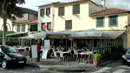Portugal Madeira typical coffee house in Funchal old town Footage