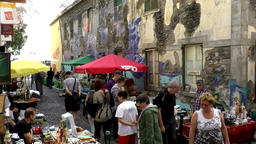 Portugal Madeira jumble sale in an alley of Funchal old town Footage