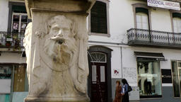 Portugal Madeira statue with fountains in front of an old facade in Funchal Footage