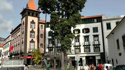 Portugal Madeira typical cityscape of Funchal city center Footage