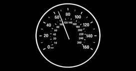 Vehicle speedometer going to max speed through the gears and limiting at 160mph Animation