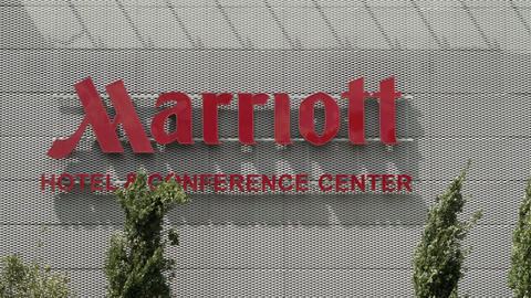 Marriot Hotel and Conference Center Signage in Frankfurt Germany Footage