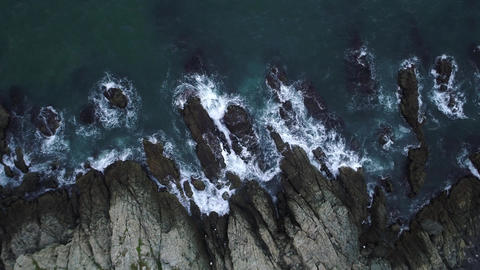 Scattering waves against rocks 06 Footage