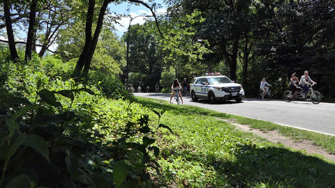 New York Central Park Police & Bicyclists Live Action