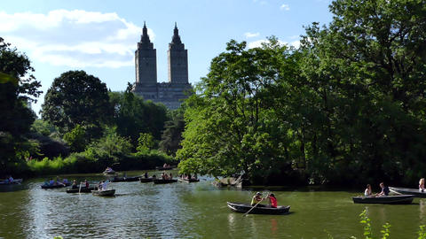 NYC Central Park Pond, Boats, Towers Image