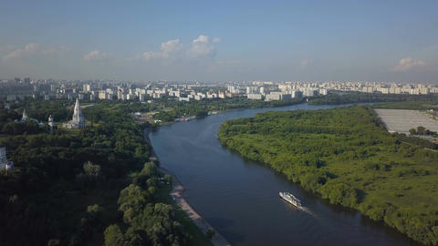 Aerial view of Church of the Ascension, Kolomenskoye park and Moscow river Image