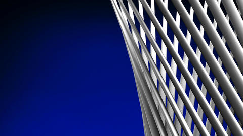 White Poles Abstract On Blue Text Space Animation