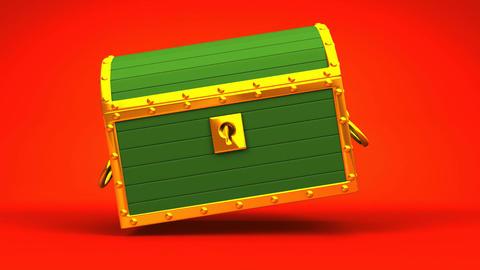 Green Treasure Chest On Red Background Animation