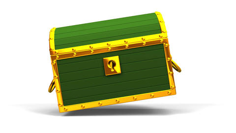 Green Treasure Chest On White Background Animation