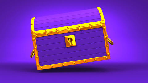 Purple Treasure Chest On Purple Background Animation